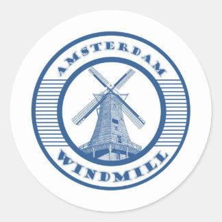 AMSTERDAM WINDMILL BLUE ROUND STICKER