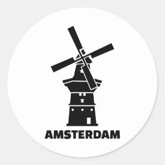 Amsterdam windmill round sticker