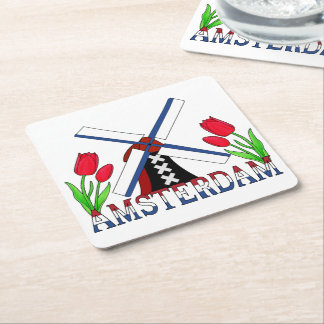 Amsterdam Windmill Tulips Netherlands Coasters