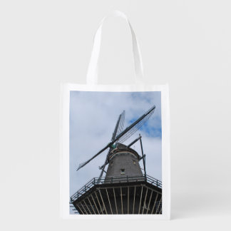 Amsterdam Windmill with Blue Sky Reusable Grocery Bags