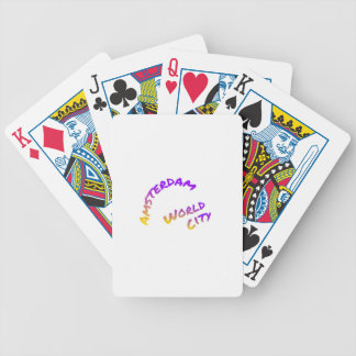 Amsterdam world city, colorful text art bicycle playing cards