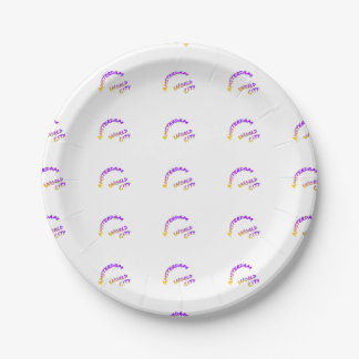 Amsterdam world city, Colorful text art Paper Plate