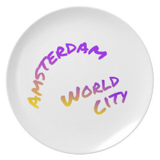 Amsterdam world city, colorful text art plate