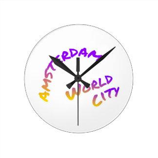 Amsterdam world city, colorful text art round clock
