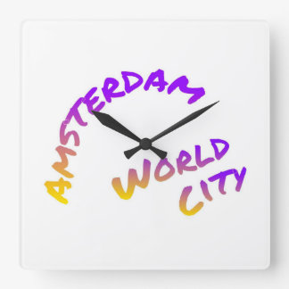 Amsterdam world city, colorful text art square wall clock