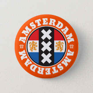 Amsterdam XXX City Symbol with Dutch Flag 2 Inch Round Button