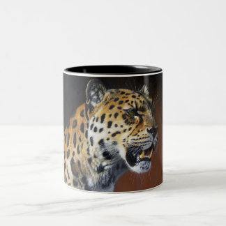 Amur Leopard painting Mug. Two-Tone Coffee Mug