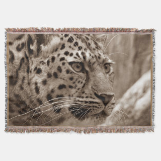 Amur Leopard Sepia Photography Print Throw Blanket