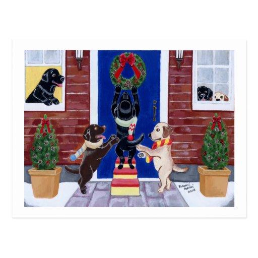 Amusement de Noël de labrador retriever Cartes Postales