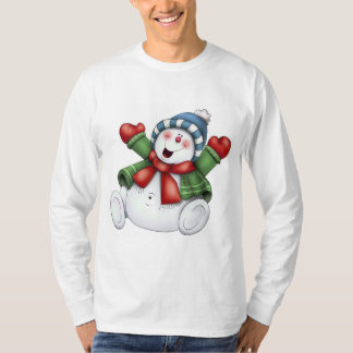 amusement mignon d'hiver de bonhomme de neige t-shirt