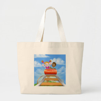 Amusement Park Roller Coaster Large Tote Bag