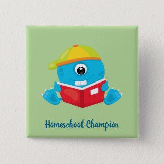 Amusing blue homeschool monster theme 2 inch square button