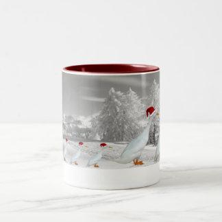 Amusing Christmas runner ducks Two-Tone Coffee Mug