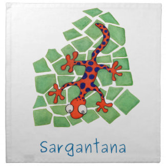 Amusing orange lizard napkin