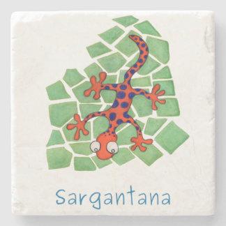 Amusing orange lizard stone coaster