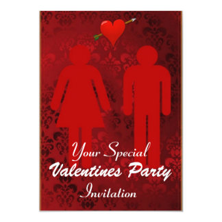 "Amusing Red Valentines Day Party 5"" X 7"" Invitation Card"