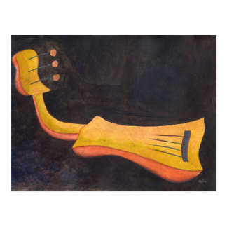 Amusing surrealist mandolin postcard