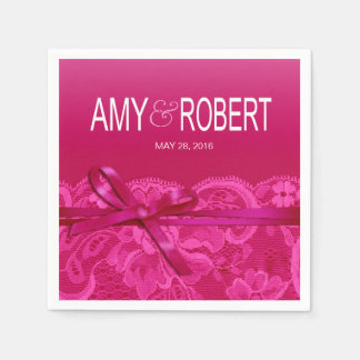Amy Bows Ribbon & Lace Wedding fuschia Paper Napkin