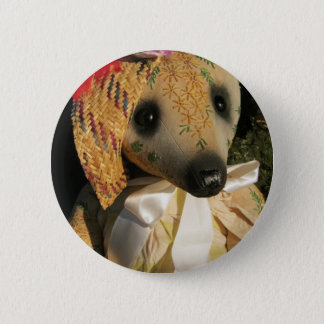 "Amy Goodrich Collectables ""Embroidered lady bear"" 2 Inch Round Button"