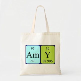 Amy periodic table name tote bag