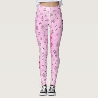 Amy Personalized pink watercolor pattern Leggings