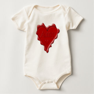 Amy. Red heart wax seal with name Amy Baby Bodysuit