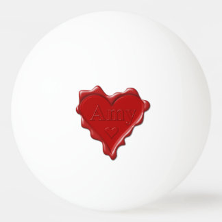 Amy. Red heart wax seal with name Amy Ping Pong Ball