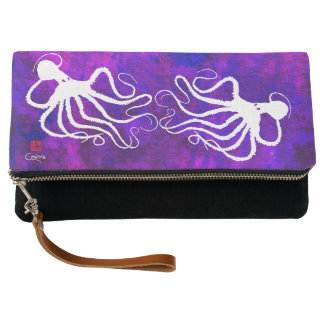 Amy's Octopus White - Fold-over Clutch