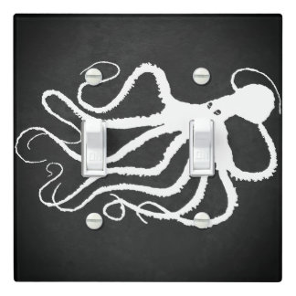 Amy's Octopus White On Gray - Light Switch Cover