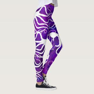 Amy's Octopus White On Purple - Leggings