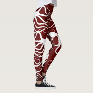 Amy's Octopus White On Red - Leggings