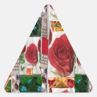 AMZING Art SHOW :redrose fabric leaf flower pearls Triangle Sticker