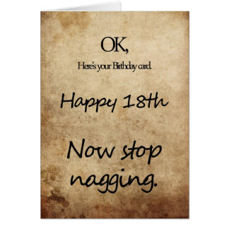 An 18th birthday for a nag card