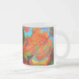 An abstract image. frosted glass coffee mug