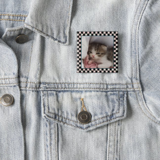 An Adorable Little Sleepy-Head Kitten 2 Inch Square Button