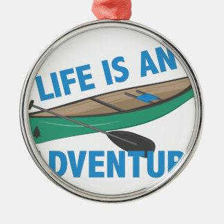 An Adventure Silver-Colored Round Ornament