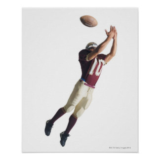 an african american football player in a red and poster