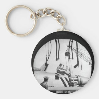 An aircraft maintenance crew of the U.S_War Image Basic Round Button Keychain