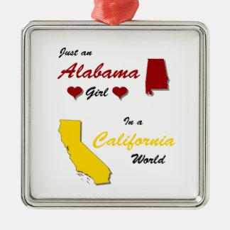 An Alabama Girl in California Silver-Colored Square Ornament
