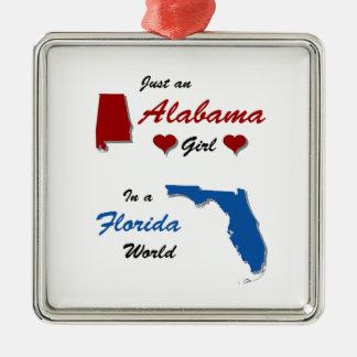 An Alabama Girl in Florida Silver-Colored Square Ornament