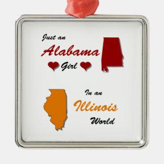 An Alabama Girl in Illinois Silver-Colored Square Ornament