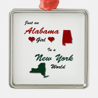 An Alabama Girl in New York Silver-Colored Square Ornament