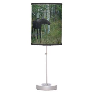 an Alaskan Moose walks around in an Aspen Forest Table Lamp