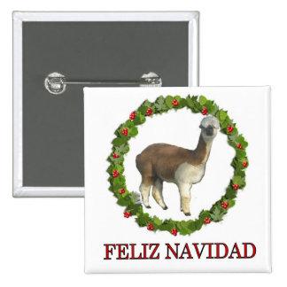 An alpaca Feliz Navidad Christmas Wreath Buttons