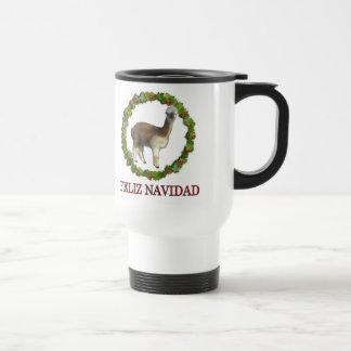 An alpaca Feliz Navidad Christmas Wreath Travel Mug
