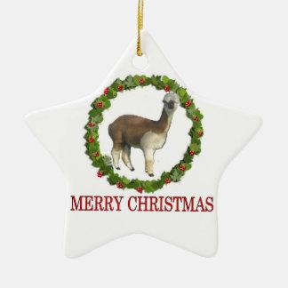 An Alpaca Merry Christmas Ceramic Star Ornament