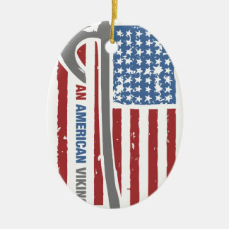 An American Viking - Valhalla Pride Ceramic Oval Ornament