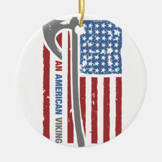 An American Viking - Valhalla Pride Round Ceramic Ornament