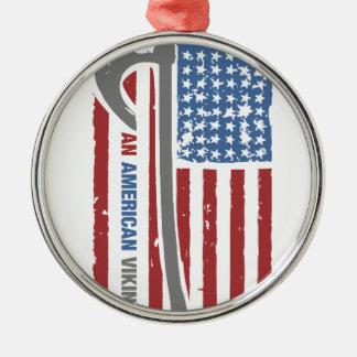 An American Viking - Valhalla Pride Silver-Colored Round Ornament