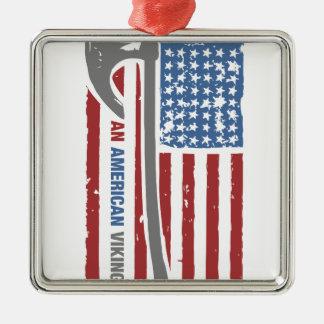 An American Viking - Valhalla Pride Silver-Colored Square Ornament